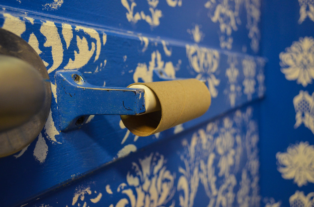 An empty toilet paper roll core on a holder in a blue-painted bathroom.