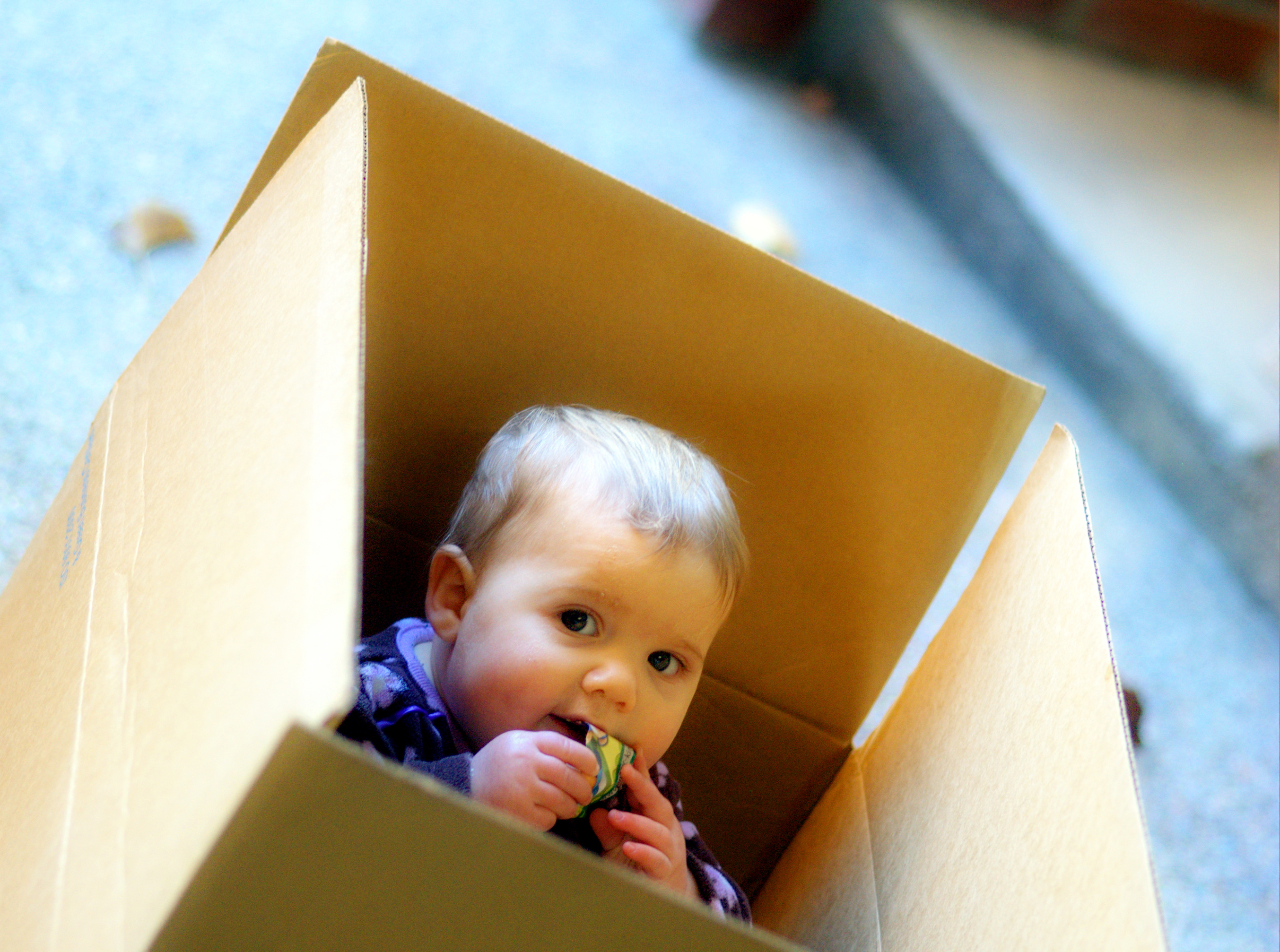 Baby in cardboard box; image by David Goehring, via Flickr, CC BY 2.0, no changes.