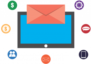 Graphic of email marketing, with dollar signs; image by 905513, via Pexels.com.