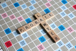 Scrabble game with lawyer and probate words; image by Melinda Gimpel, via Unsplash.com.