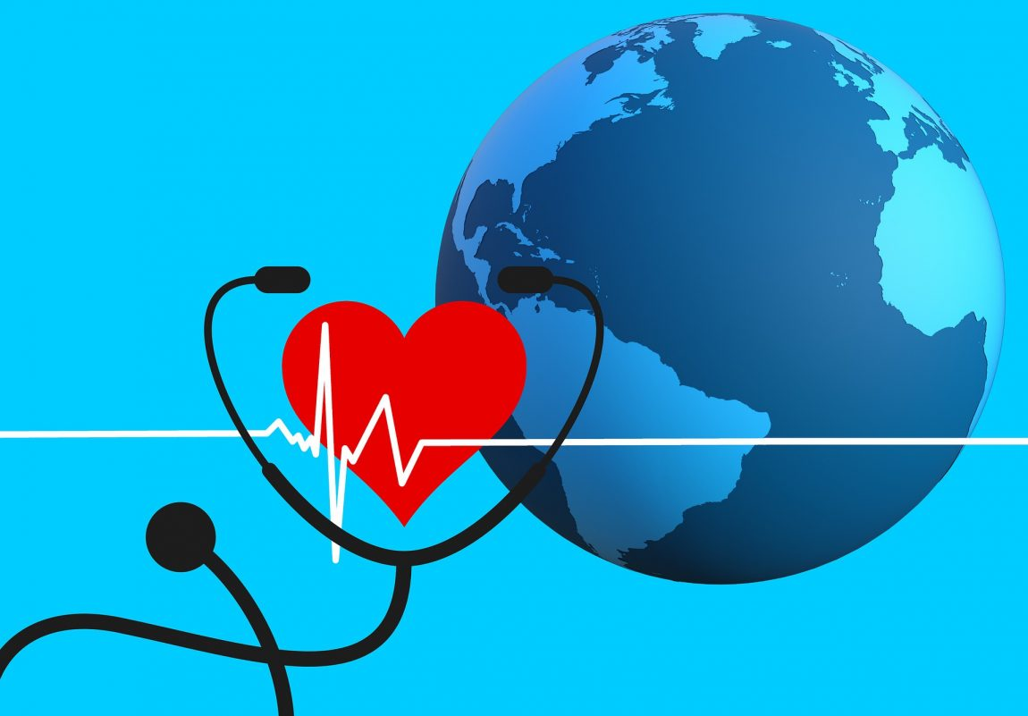 Graphic of Earth with a heart, stethoscope, and EKG wave; graphic by Tumisu, via Pixabay.com.