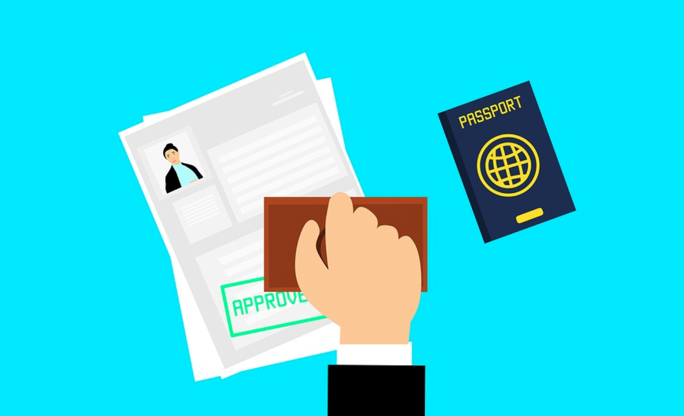 "Graphic of application with ""Approved"" stamped on it and a passport near it; image by Mohamed Hassan, via Pexels.com."