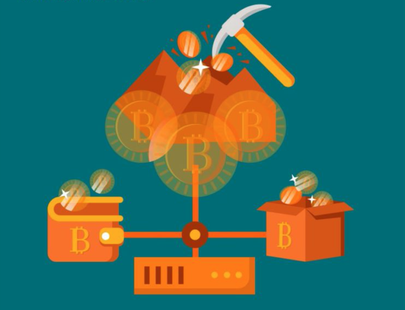 Graphic representing Bitcoin mining, courtesy of author.
