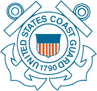 "A logo with two crossed anchors and the words ""United States Coast Guard 1790."""