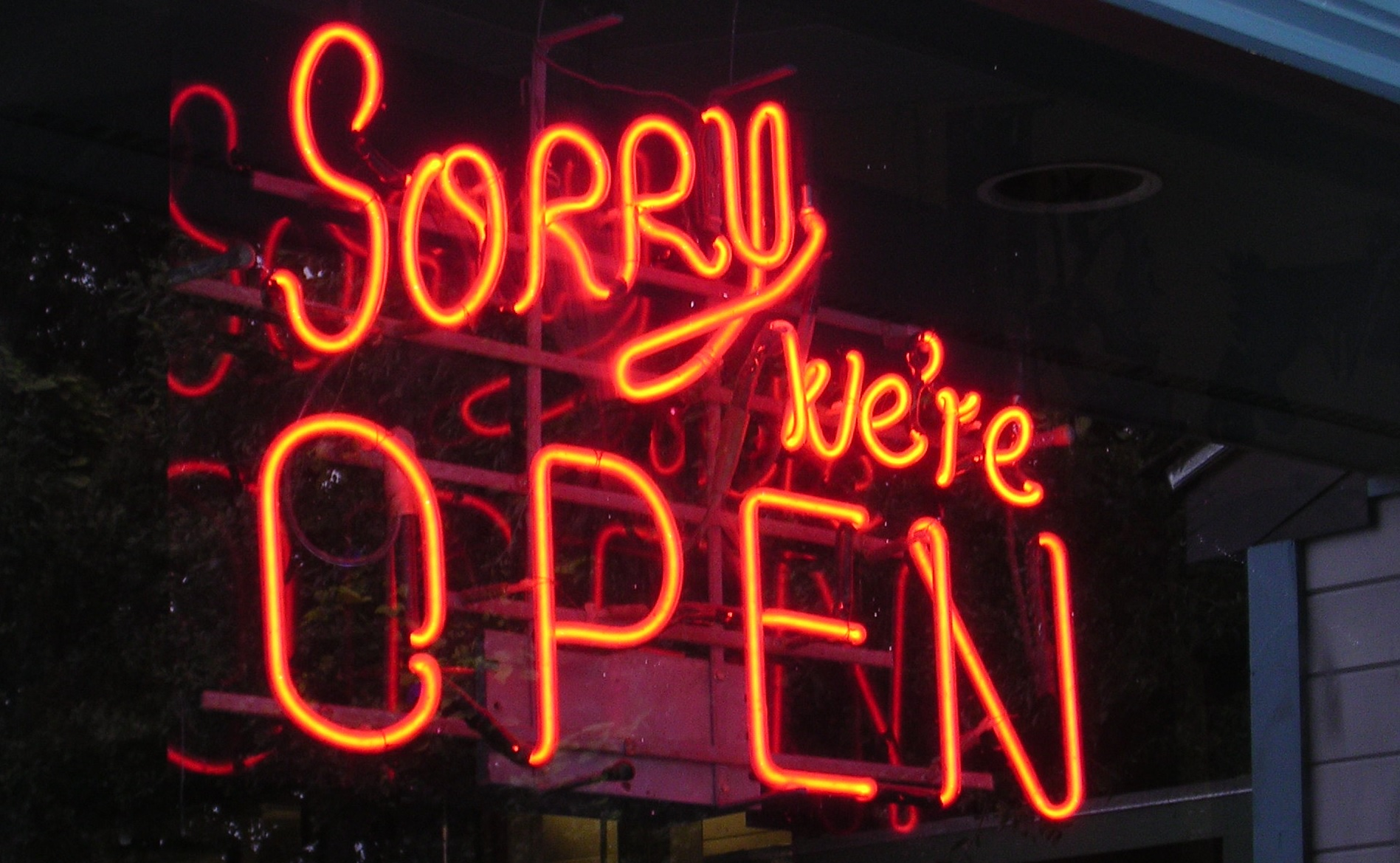 "A neon window sign that says ""Sorry, we're open."""