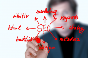 Man writing marketing/SEO strategy on a clear surface in red ink; image by geralt, via Pixabay.com.
