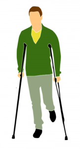 Graphic of man on crutches; image courtesy of author.