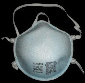 N95 mask; image by Hanabishi, via Wikimedia Commons, CC0.