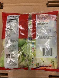 Recalled Garden Salad Label