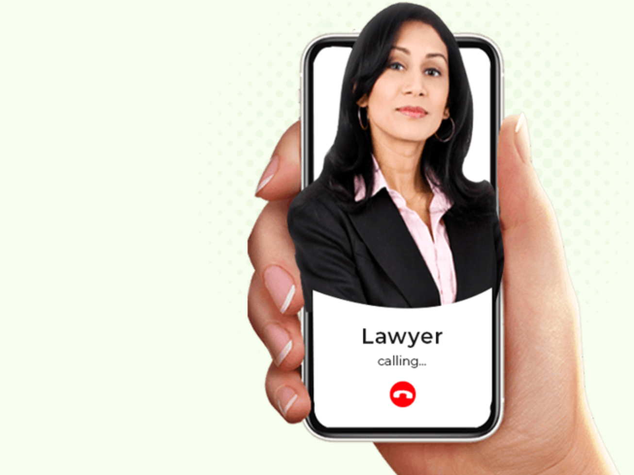 "Woman holding cellphone with ""Calling Lawyer"" on the screen and a picture of a lawyer; image courtesy of author."