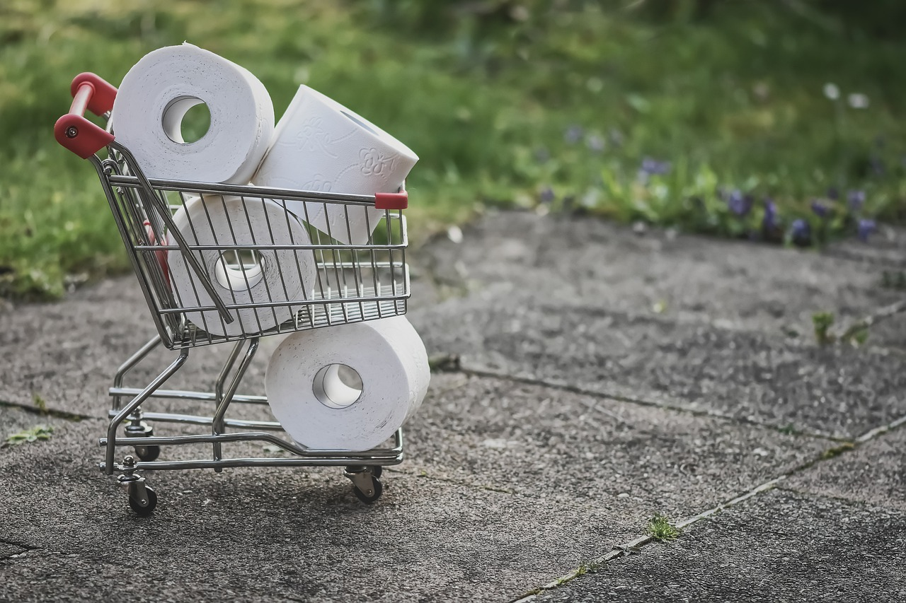 Toilet paper in a shopping cart