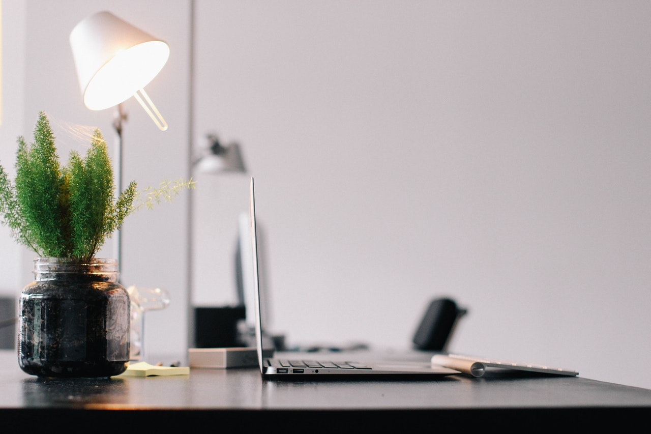 Desk with plant, lamp, and laptop; image by Pixabay, via Pexels.com.