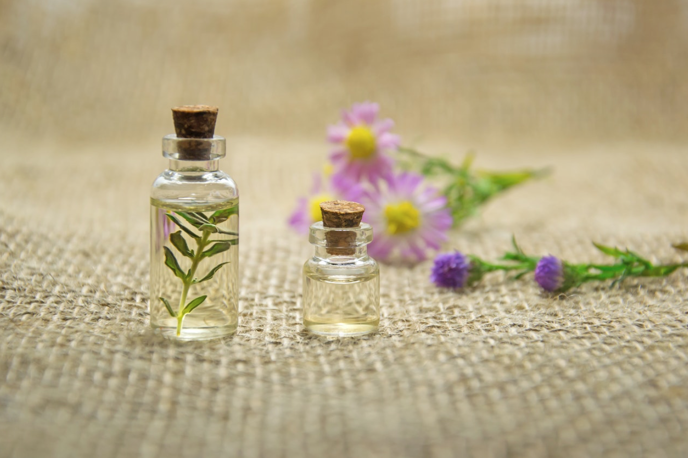 Glass bottles filled with oil and plants; image by Mareefe, via Pexels.com.