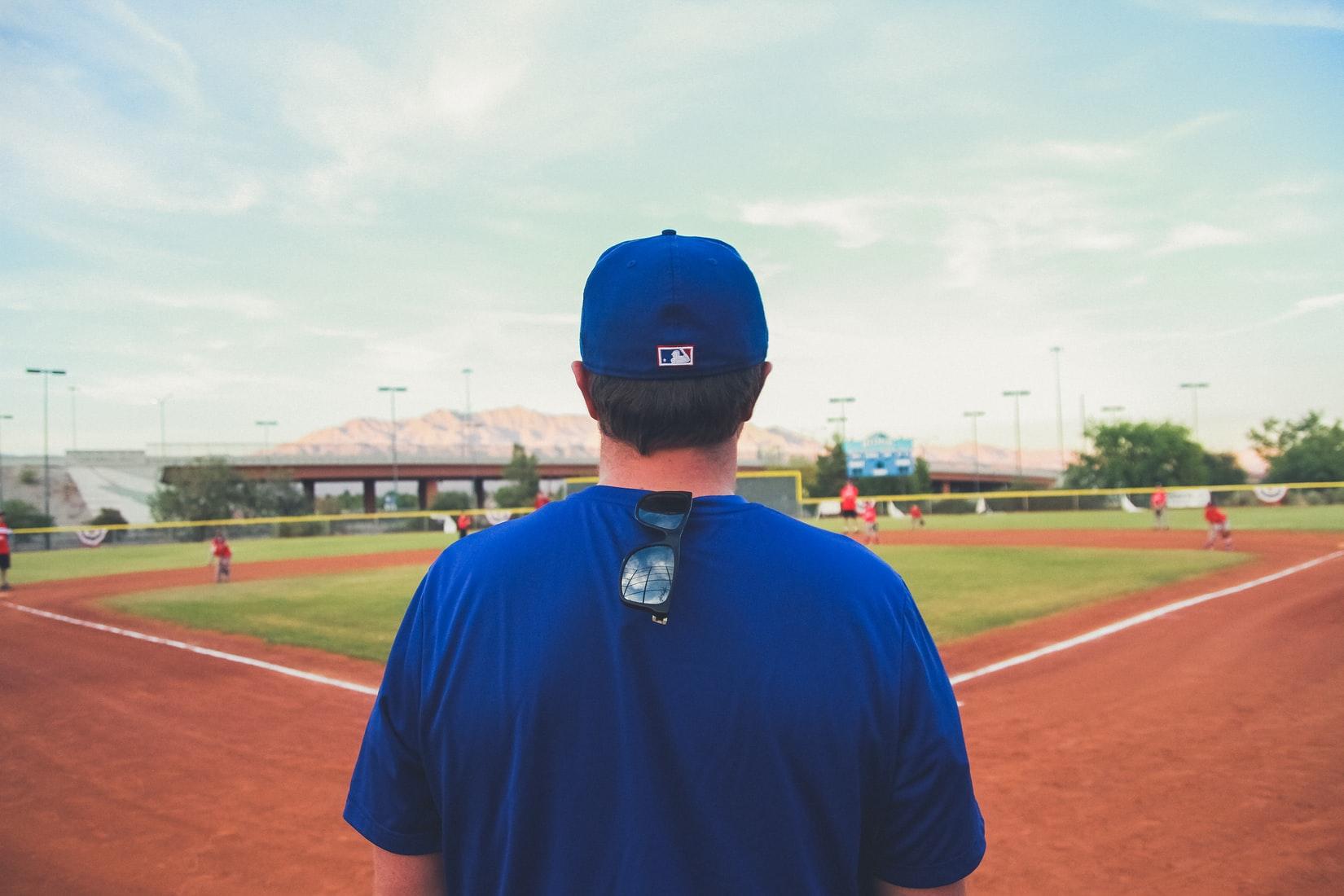 Man standing on a baseball field