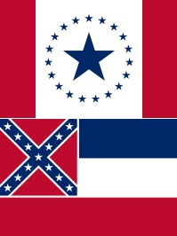 Two flags. One has red side bars against a central white field with 19 small blue stars surrounding a central, larger blue star. Below that, a flag with large, horizontal stripes in blue, white, and red, with the Confederate battle flag in the upper left corner.
