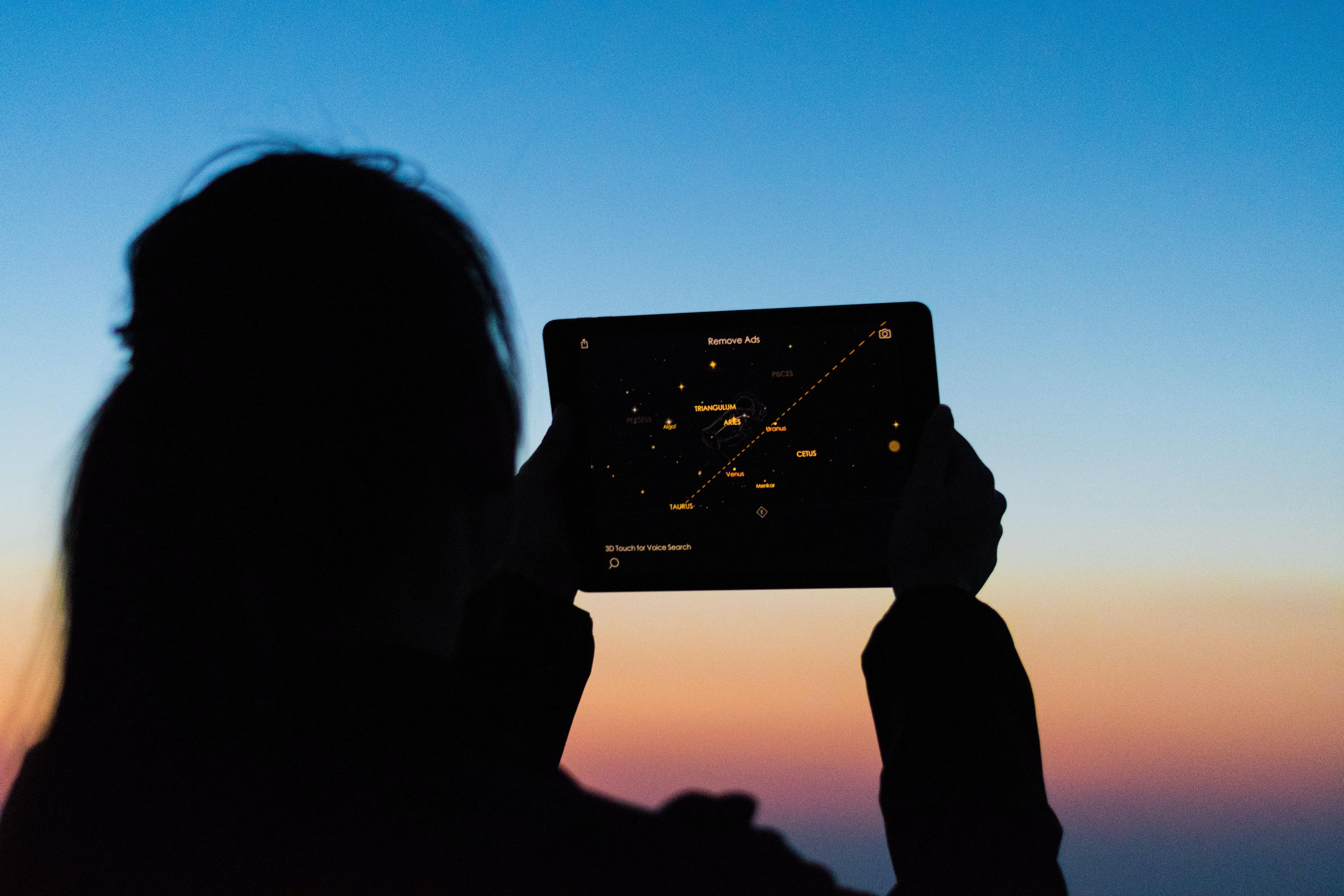 Person using iPad at sunset; image by Leon Liu, via Unsplash.com.