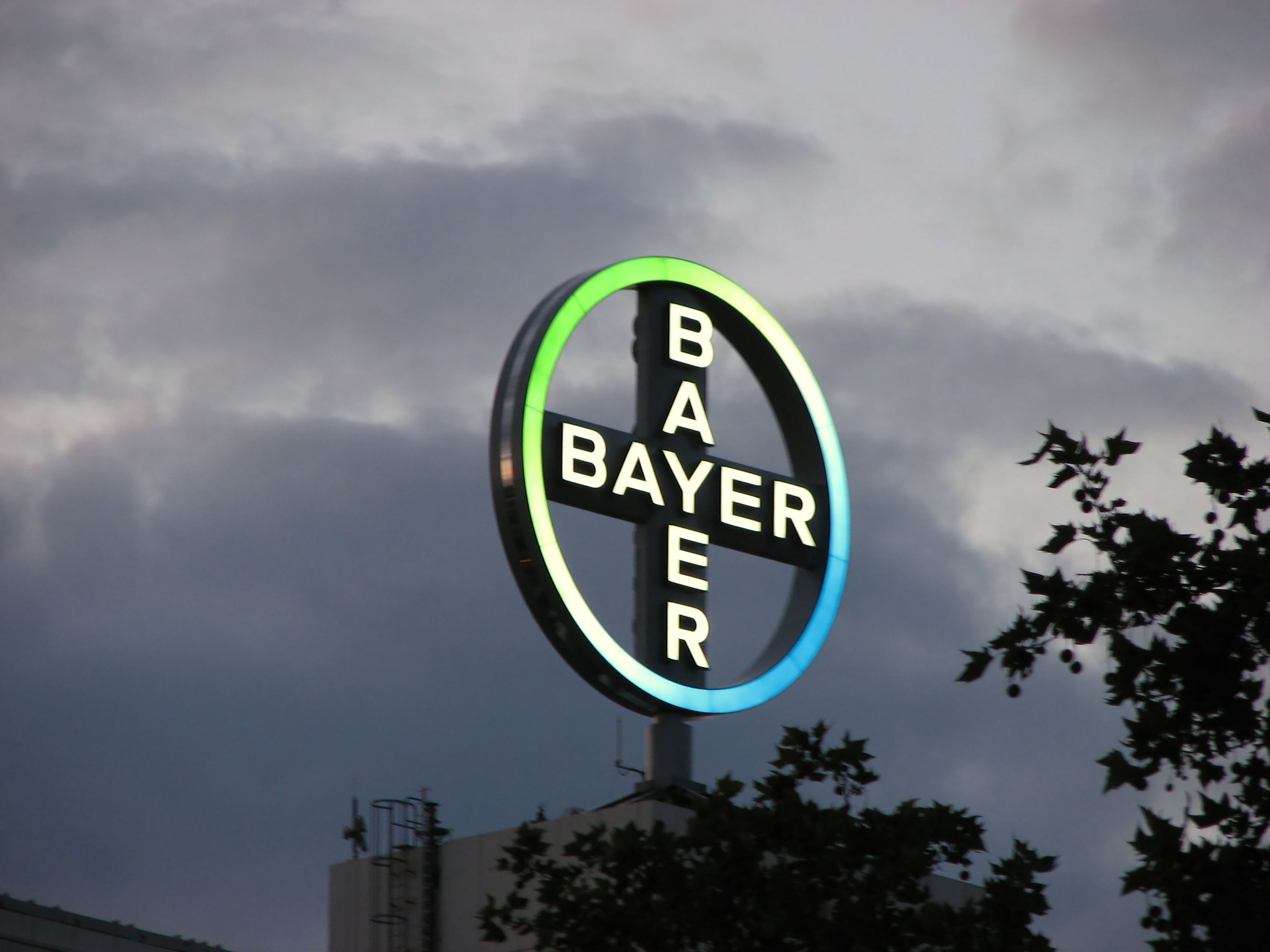 Grey storm clouds surrounding a Bayer logo sign.