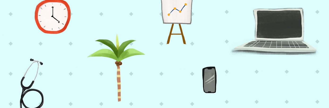 Banner showing clock, computer, cell phone, palm tree, stethoscope, and chart depicting various aspects of employee costs. Graphic courtesy of author.