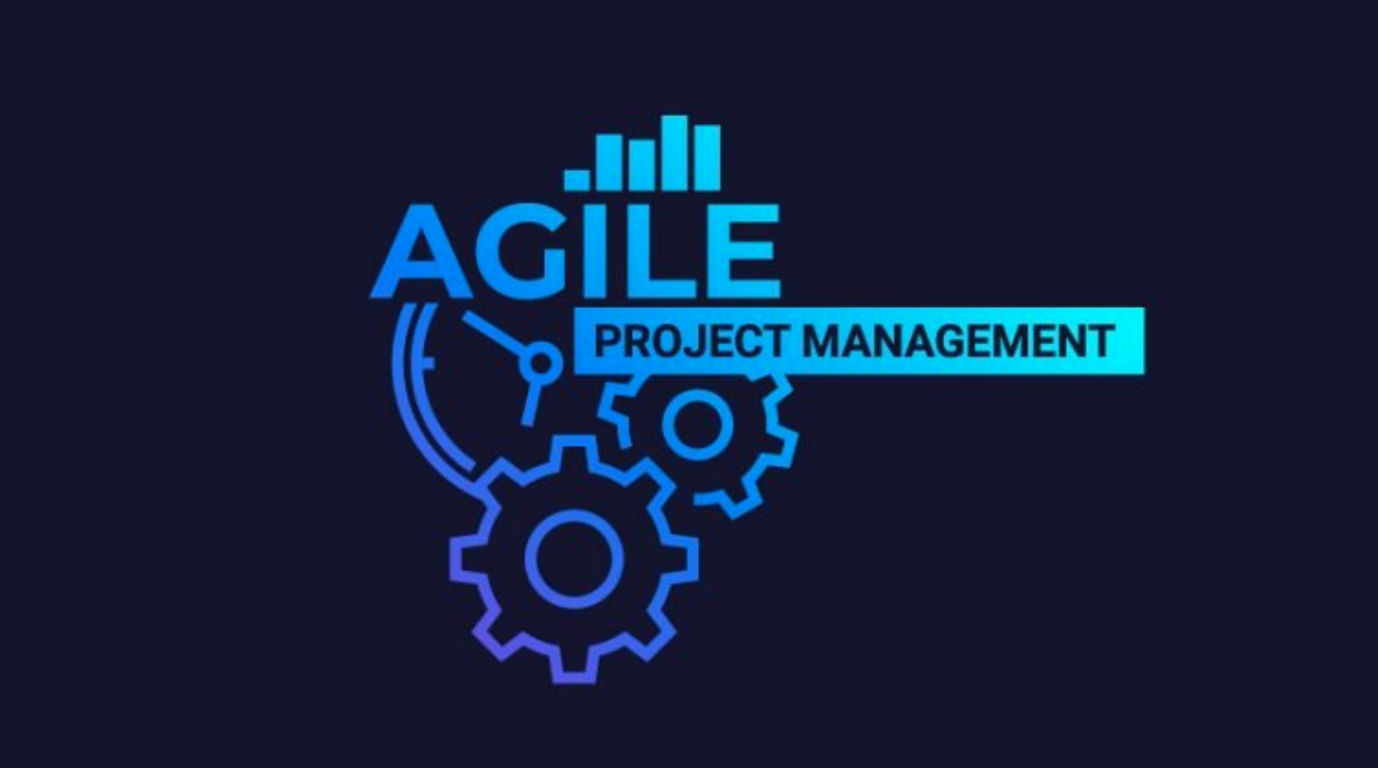"Graphic of gears with ""Agile Project Management"" text; provided by author."