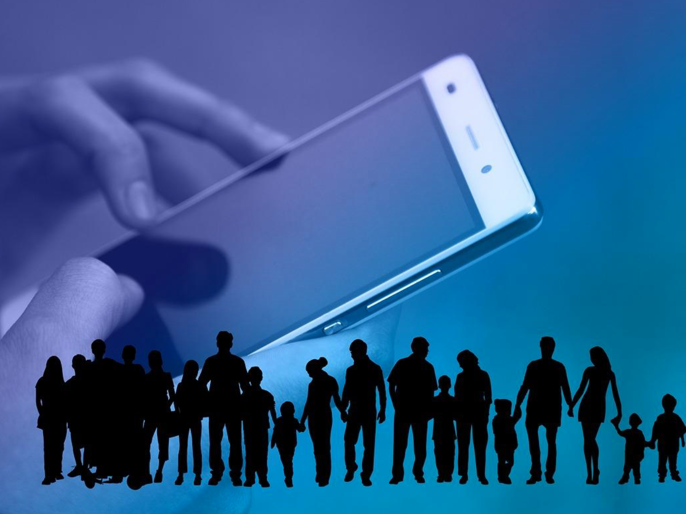 Silhouette of crowd against an oversized hand holding a smartphone; image by Geralt; via Pixabay.com.