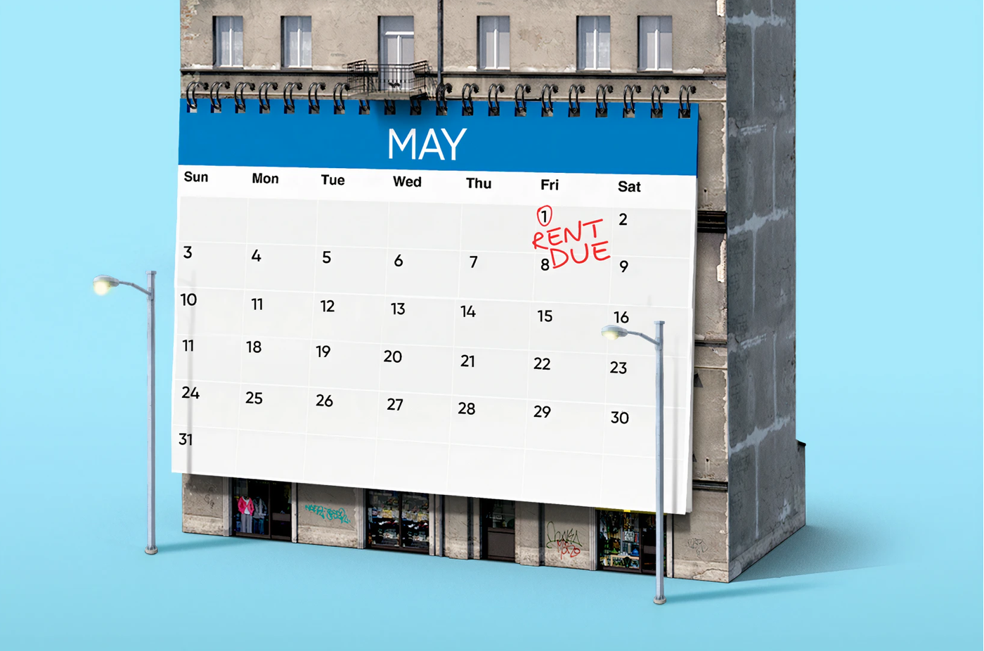 "Apartment building with giant calendar on it, ""Rent Due"" in red ink on May 1; image by Morning Brew, via Unsplash.com."
