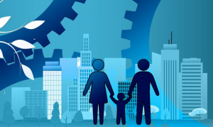 Silhouette of family against graphic of city surrounded by gears; image by Geralt, via Pixabay.com.