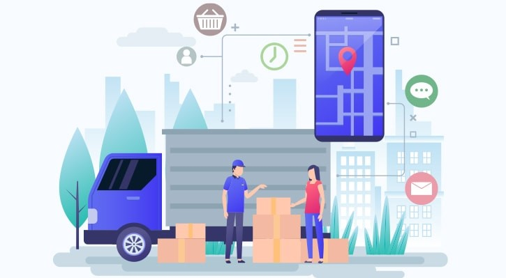 Quick delivery graphic of smartphone, truck, boxes, driver, and customer. Graphic by