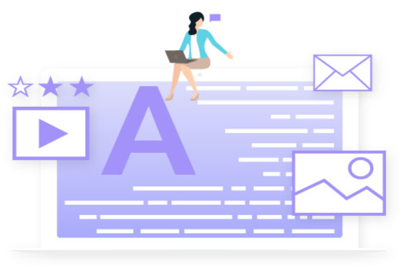 Graphic of woman with laptop sitting atop a document; image courtesy of NotifyVisitors.