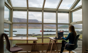 Remote Working in Iceland Self-Portrait; image by Kristin Wilson, via Unsplash.com.