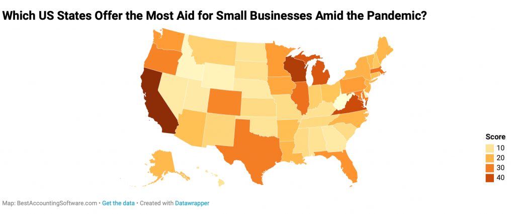 Which US States Offer the Most Aid for Small Businesses Amid the Pandemic; map by BestAccountingSoftware.com.