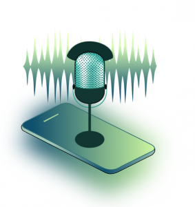 Graphic of microphone sitting atop smartphone; image by PaulaHelit, via Pixabay.com.