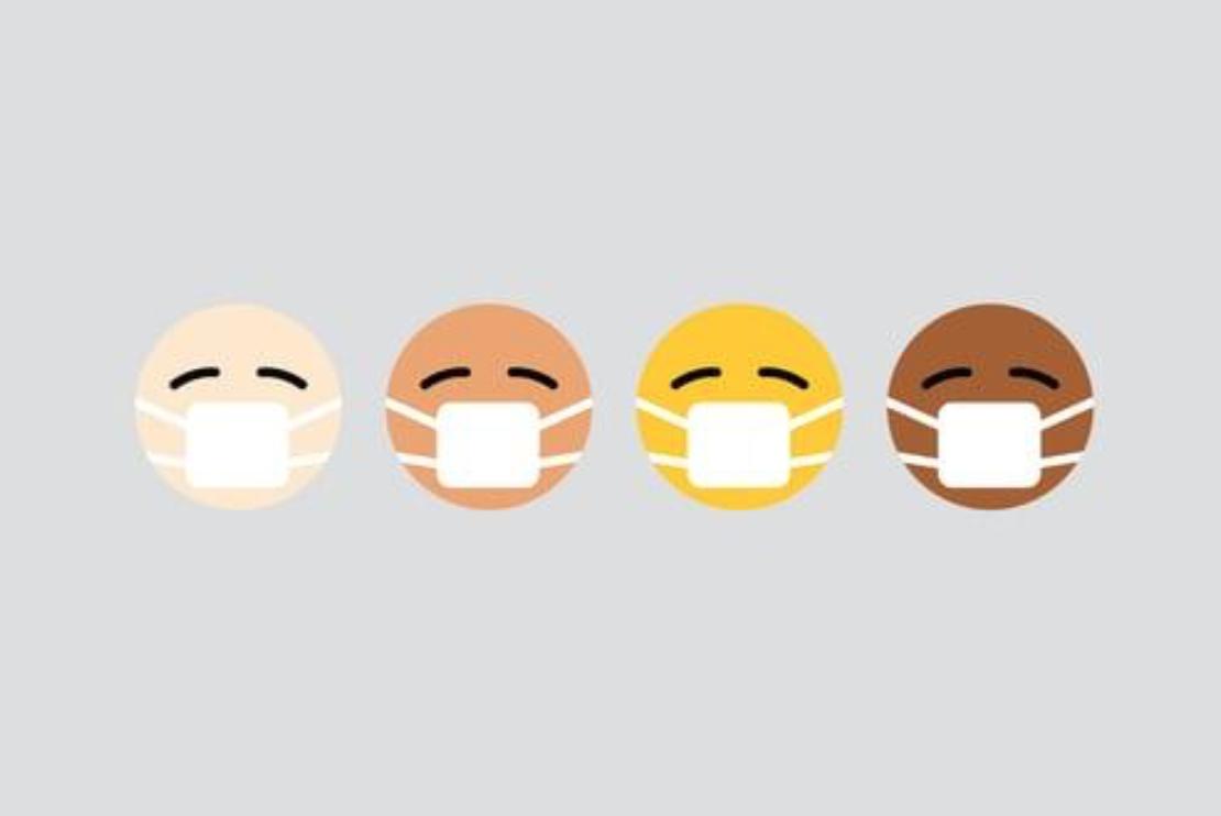 Coronavirus has no race. Different colored emoji wearing masks. Image by Visuals, via Unsplash.com.