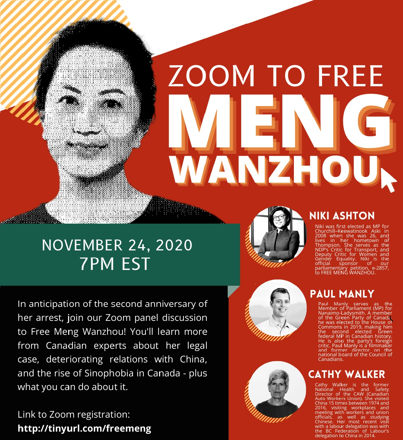 "Photo: The promotional poster for ""Zoom to free Meng Wanzhou"""