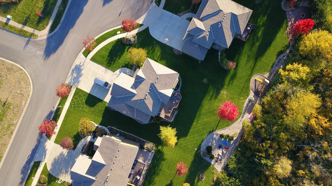 Aerial photo of neighborhood; image by David McBee, via Pexels.com.