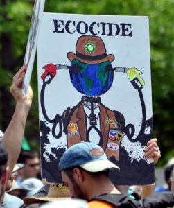 "A protester holds up a sign that says ""Ecocide."""