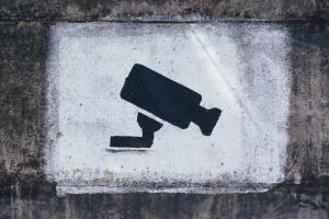Painting of surveillance camera on wall; image by Tobias Tullius, via Unsplash.com.