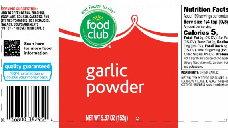 Label of recalled garlic powder