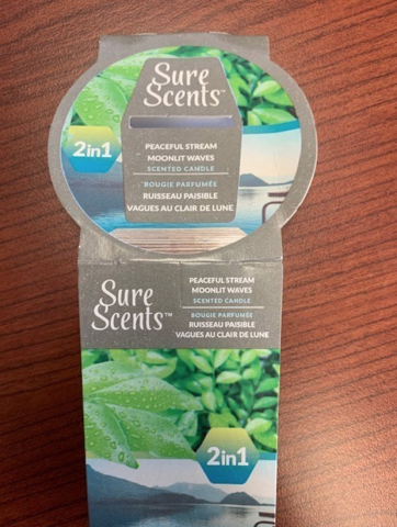 Recalled Sure Scents 2-1 Peaceful Stream_Moonlit Waves Candle Label
