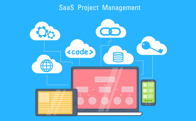 SaaS Marketing Banner. Laptop, tablet and phone, cloud storage with icons. Image by Rose Rodionova, via Freepik.com.