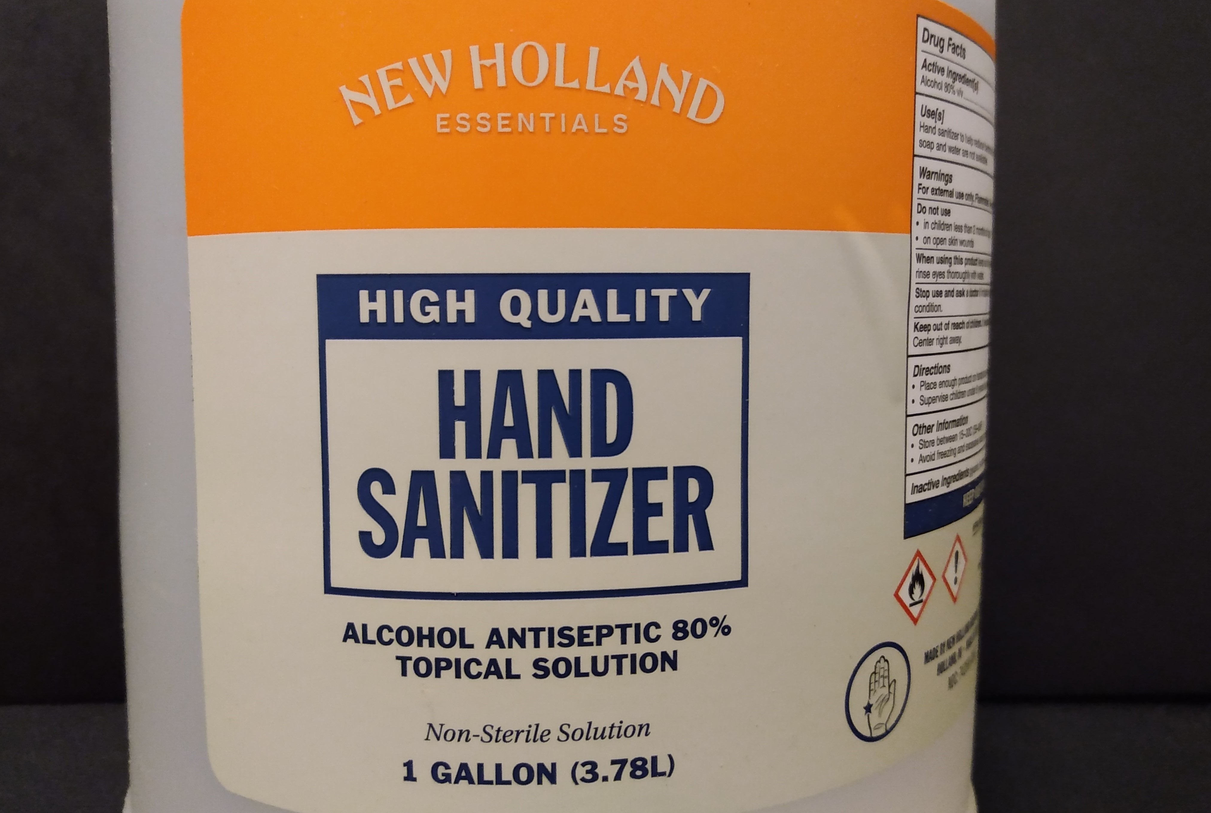 Label on the front of a gallon jug of sanitizer.