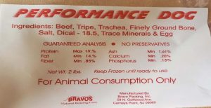 Label for recalled Bravo Packing dog food