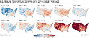 A series of outline maps of the continental United States, showing gradual and extreme warming over the last century or so.