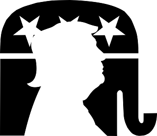 The Republican elephant logo, containing a silhouette of former President Trump.