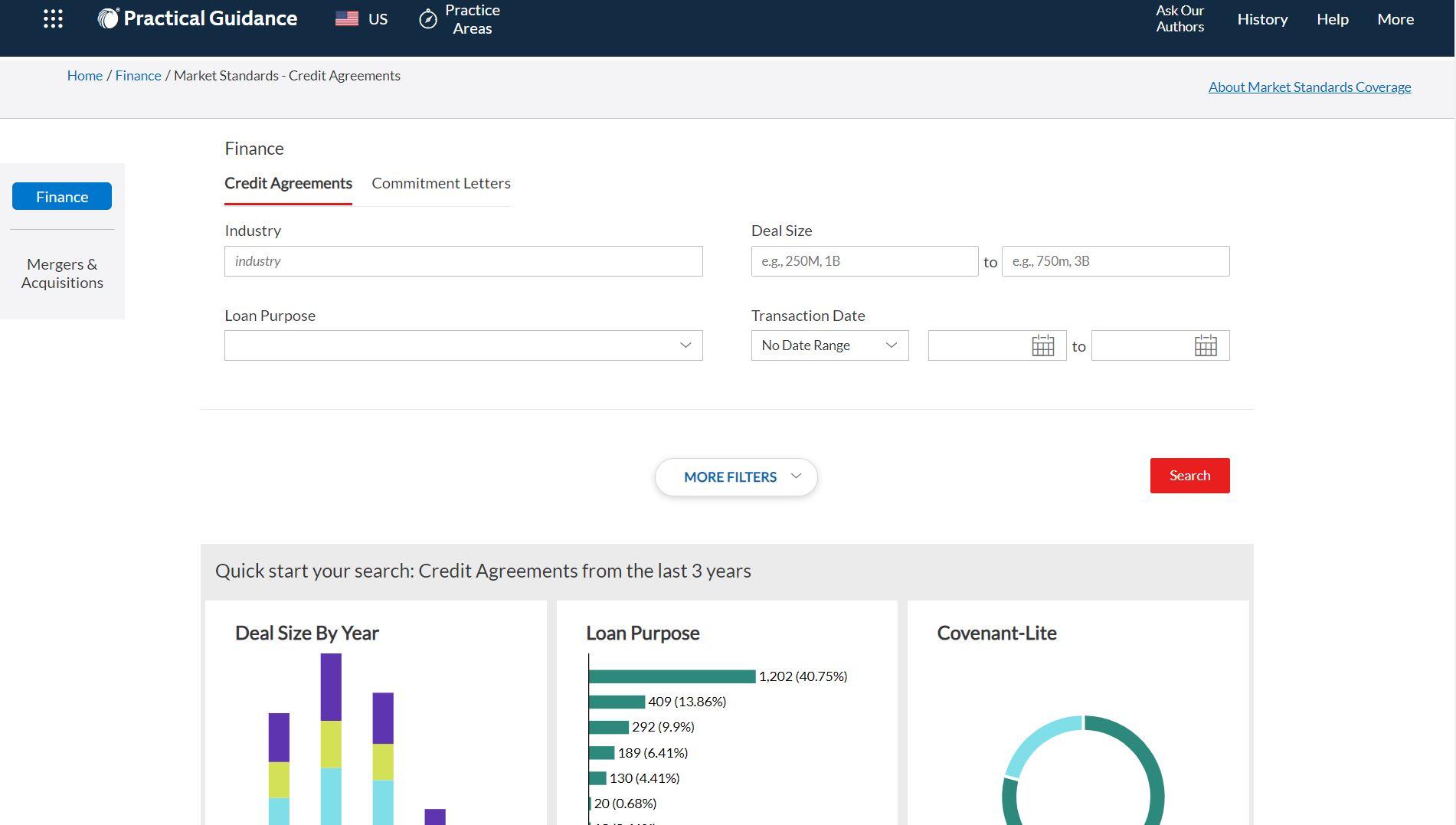 Market Standards - Finance Home Screen; image courtesy of LexisNexis.