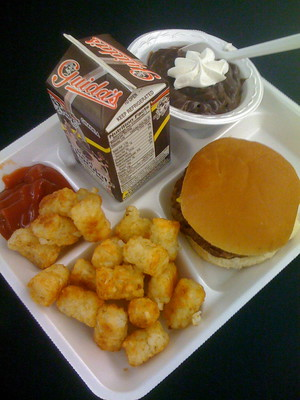 A classic school lunch with a hamburger, tater tots, ketchup, chocolate milk and chocolate pudding.